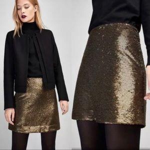 Massimo Dutti Golden Bronze Sequin Mini Skirt